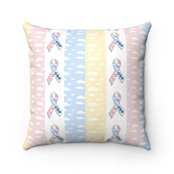 """CDH Awareness Ribbon"" Spun Polyester Square Pillow - CDH International"