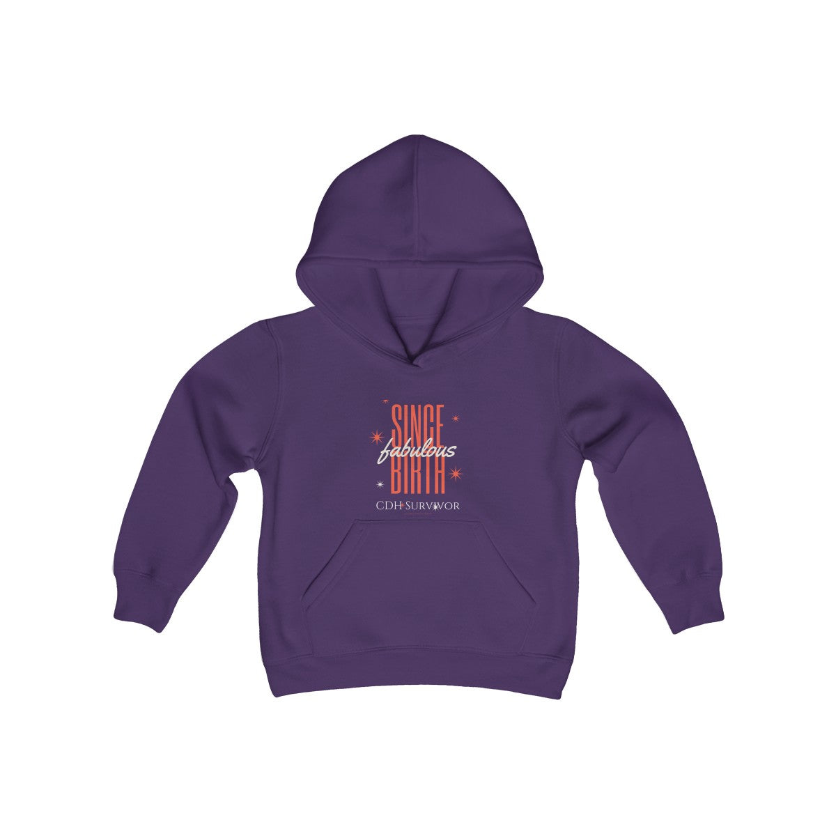 """Fabulous Since Birth"" CDH Survivor Youth Heavy Blend Hooded Sweatshirt"