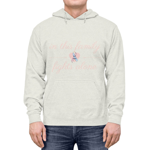 """In This Family, No One Fights Alone"" CDH Awareness Unisex Lightweight Hoodie - CDH International"