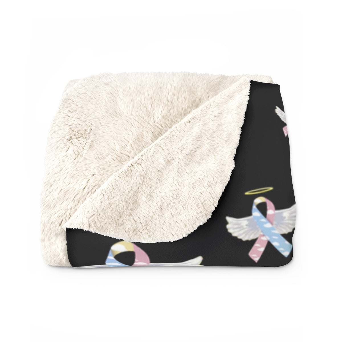"""Winged CDH Awarness Ribbon"" Sherpa Fleece Blanket - CDH International"