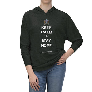 """Keep Calm & Stay Home"" CDH Awareness Unisex Tri-Blend Hoodie"