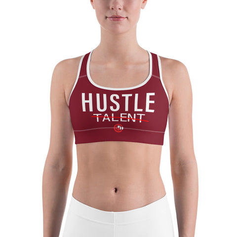 Maroon Hustle Over Talent Sports bra
