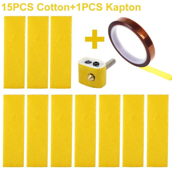 15 PCS Heating Block Cotton and 1 Roll Adhesive Kapton Tape - Mech E-Store