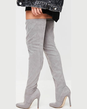 Cizme Missguided chunky sole gri