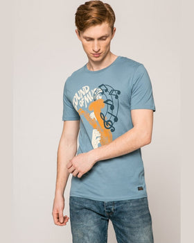 Tricou Jack and Jones albastru metalic