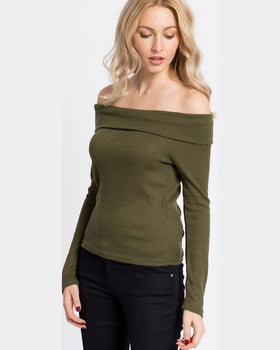 Bluza Noisy May sarah off shoulder verde
