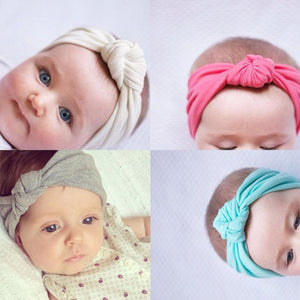 Baby girls Tie Knot Headband Knitted Cotton Children Girls elastic hair  bands Turban bows for girl 5196b3ca908