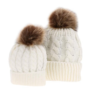 6bdc8341b Winter Hats for Kids Mom Baby Kid Warm Raccoon Fur Beanie Cotton Knitted  Parent-child