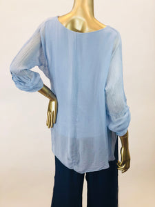 Silk Blouse with Layered Hem (Multiple Colors)