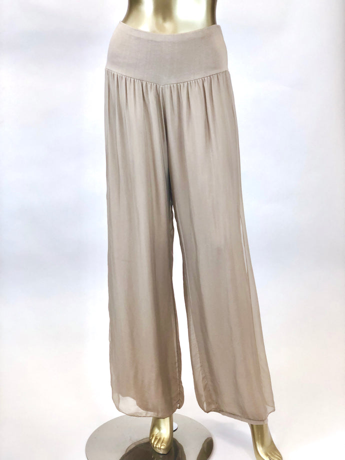 Silk Pant with Side Slit (Multiple Colors)