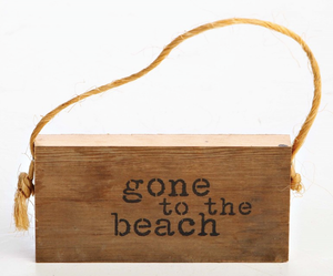 Reclaimed Wood Hanging Door Sign - Gone To The Beach