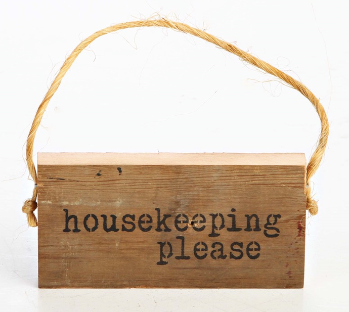 Reclaimed Wood Hanging Door Sign - Housekeeping