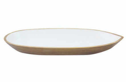 Mango Wood & White Enamel Oval Dish