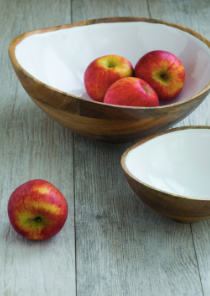 Mango Wood & White Enamel Large Bowl