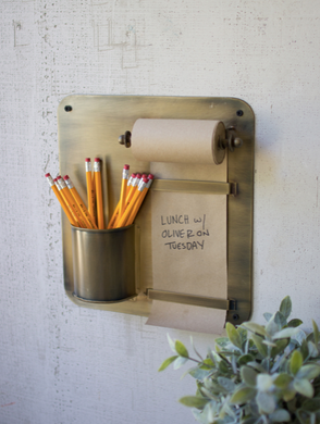 Note Roll w/ Antique Brass Wall Rack & Pencil Holder