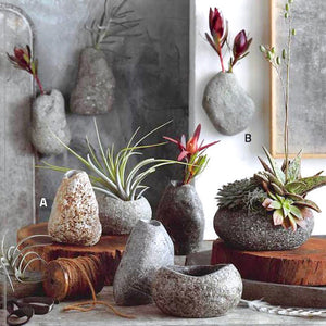 River Rock Wall/Standing Vases