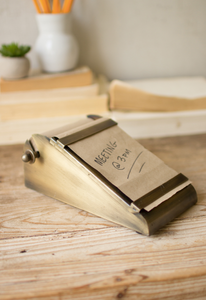 Desk Top Note Roll with Antique Brass Holder