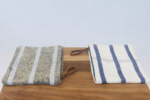 Striped Washed Linen Pouch