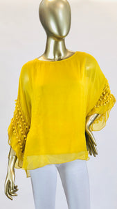 Pompom Sleeve Silk Top (Multiple Colors)