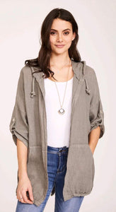 Linen Hooded Cord Tie Jacket