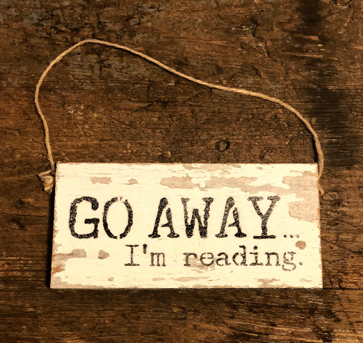 Reclaimed Wood Hanging Door Sign - Go Away, I'm Reading