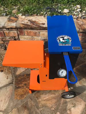 Louisiana Cajun fish fryer top view Blue and Orange Powder coat finish Florida Gators edition