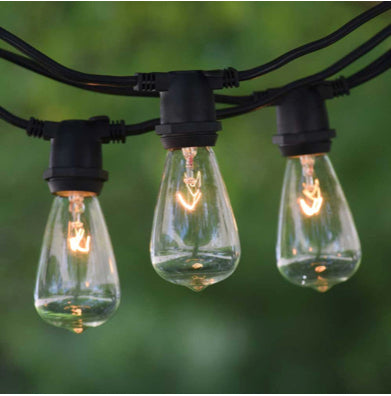48 ft Black Commercial Medium String Light & 11S14 Clear Bulbs