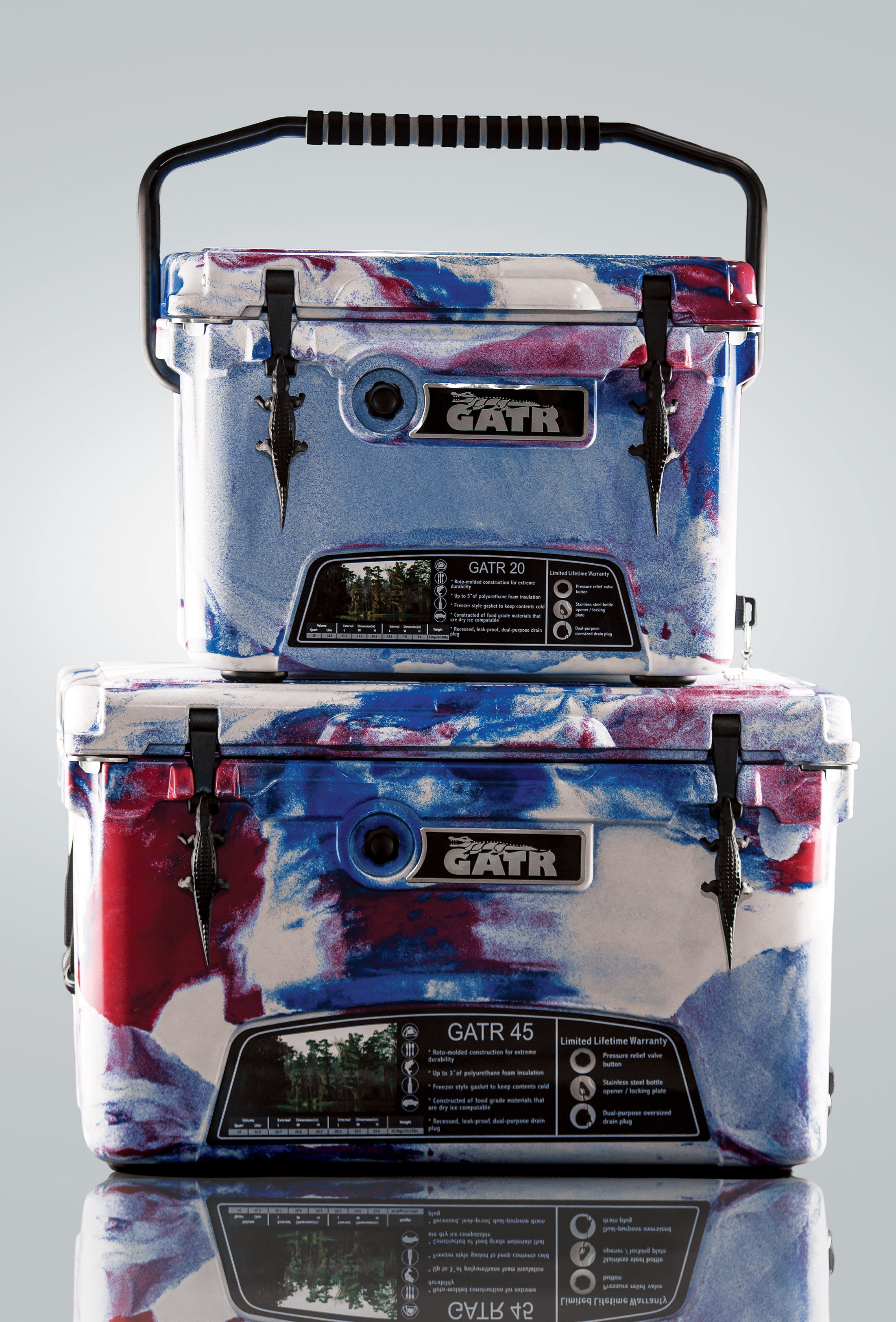 RED WHITE AND BLUE COOLERS