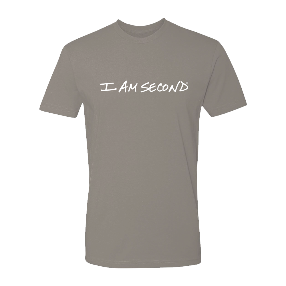 I Am Second Unisex Classic Logo Warm Grey Tee