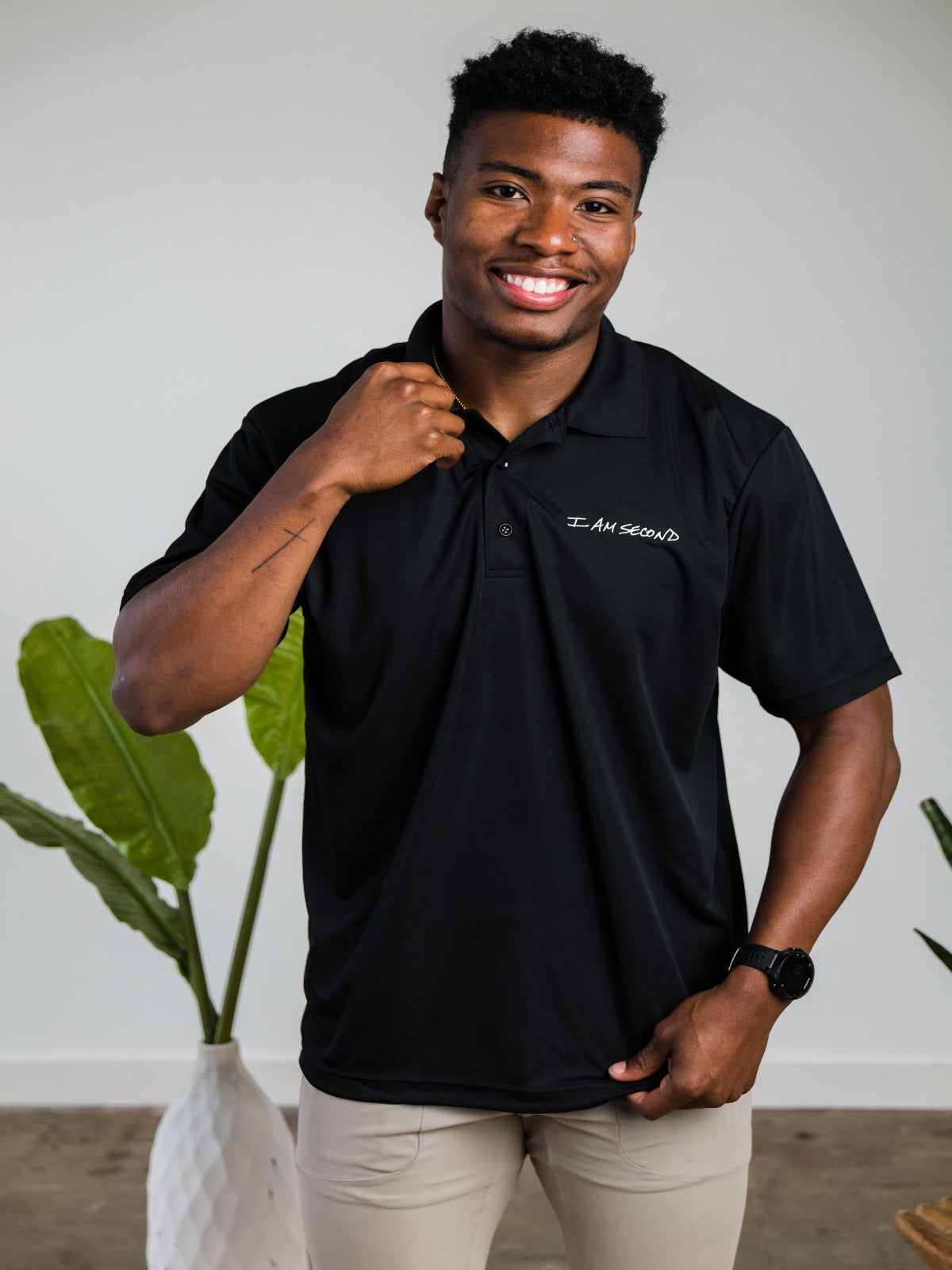 Men's Black Performance Polo
