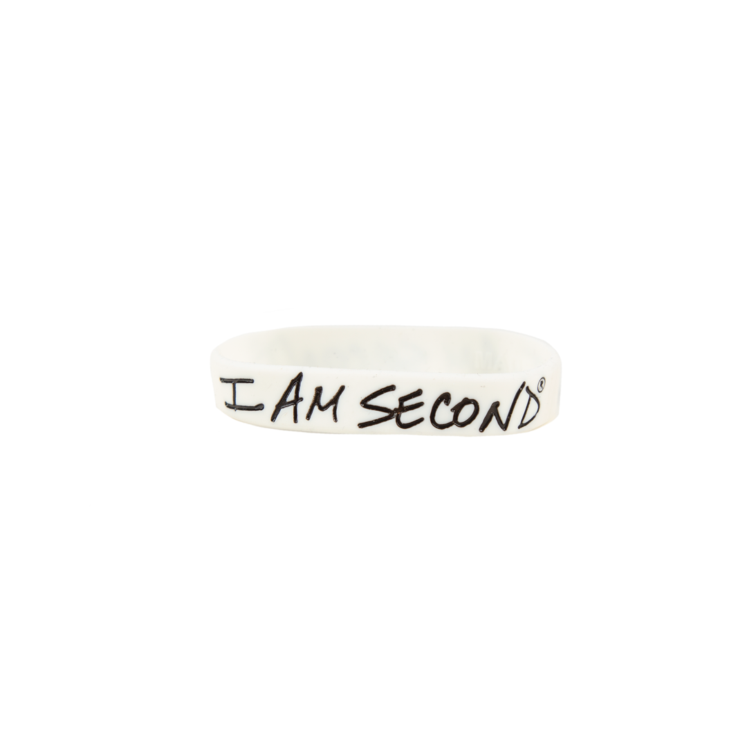 I Am Second White Wristband