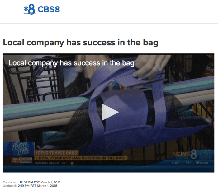 CBS 8 - SAN DIEGO — Local company has success in the bag