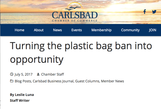 CARLSBAD BUSINESS JOURNAL - Turning the plastic bag ban into opportunity