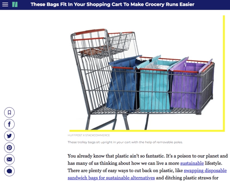 HuffPost - These Bags Fit In Your Shopping Cart To Make Grocery Runs Easier
