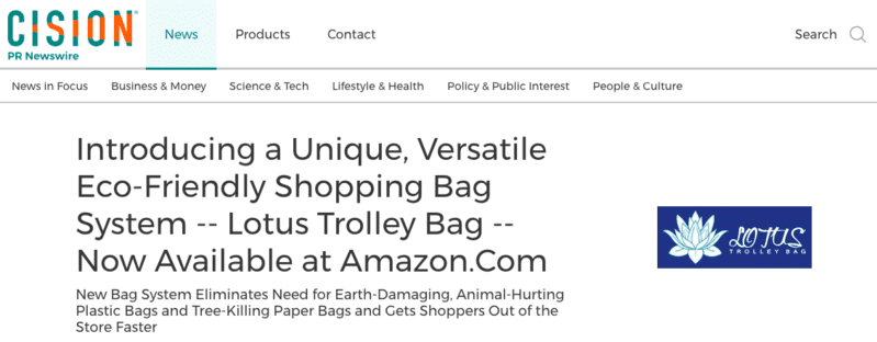 PR NEWSWIRE — Introducing a Unique, Versatile Eco-Friendly Shopping Bag System — the Lotus Trolley Bag — Available on Amazon