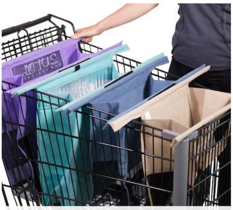 trolley bags spread in shopping cart