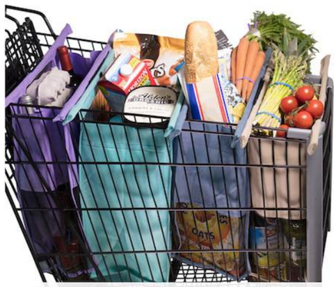 trolley bags in cart with groceries
