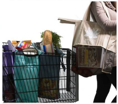 reusable bags with groceries