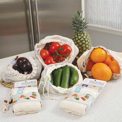 Organic Raw Cotton Lotus Produce Bags on a Kitchen counter