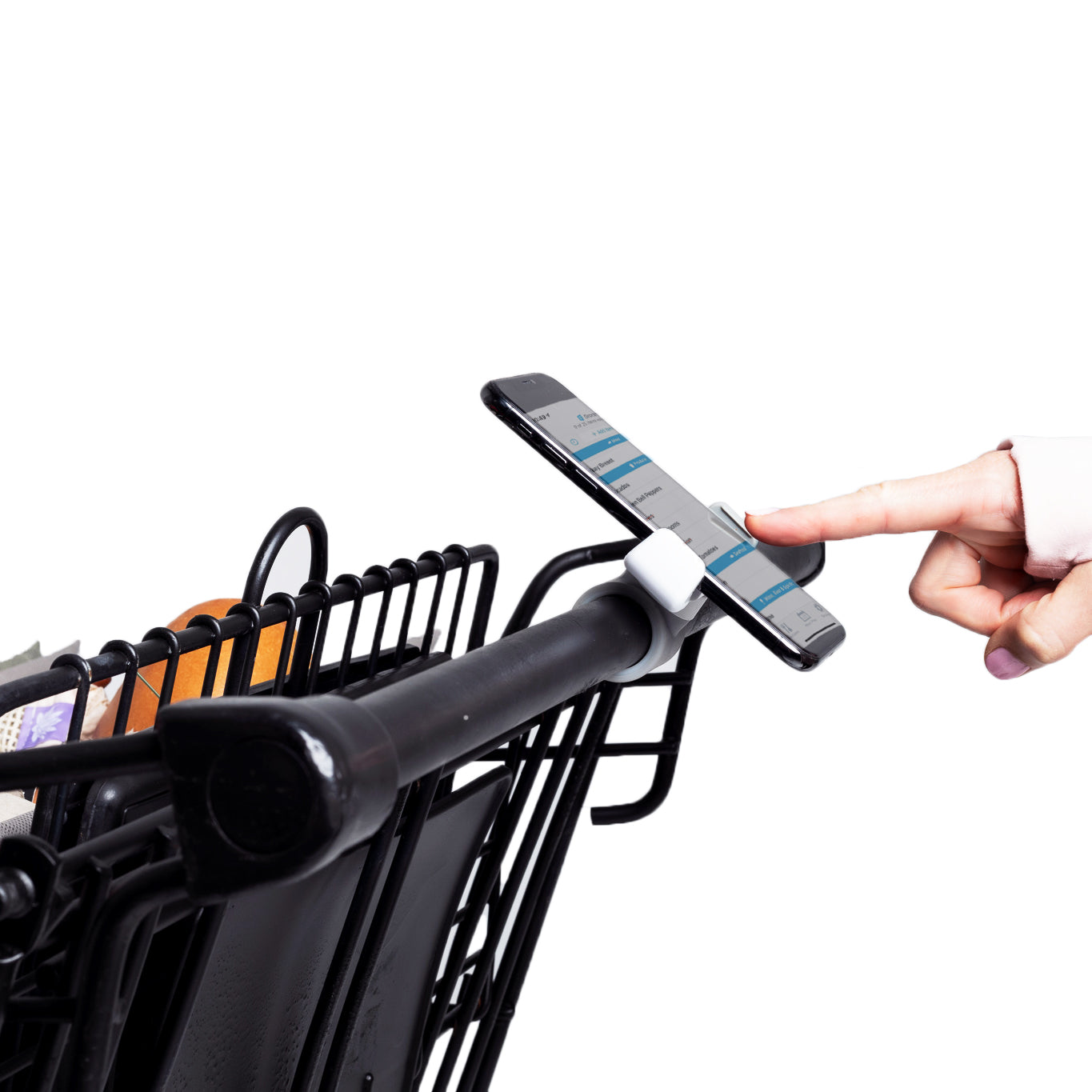 Shopping cart clip that attaches to handle of cart. Adjustable.