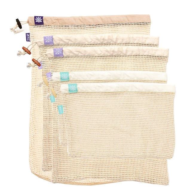"""Lotus Organic Cotton Reusable Produce Bags.  5 eco-friendly bags in 3 color-coded sizes: - 2 small bags (12"""" x 8"""") - 2 medium bags (12"""" x 14"""") - 1 large bags (12"""" x 17""""), organic raw cotton. Drawstring with wooden bead closure. Machine washable"""