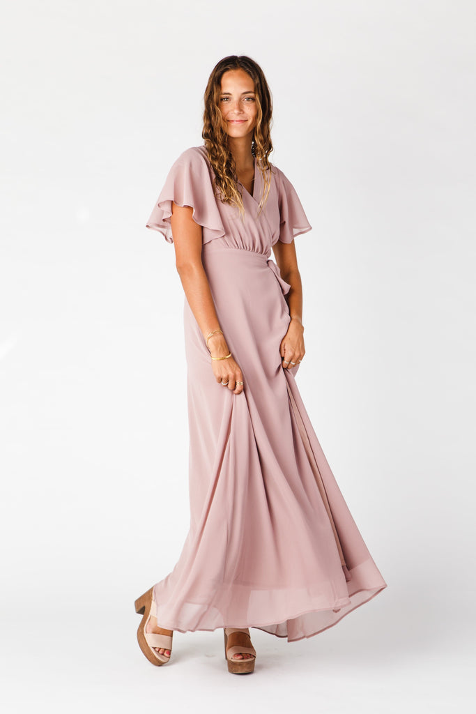 Naples Flutter Sleeve Wrap Maxi 2.0 WOMEN'S DRESS Arbor L Mauve