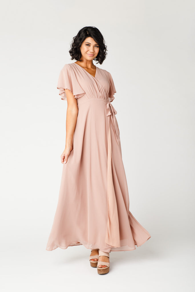Naples Flutter Sleeve Wrap Maxi 2.0 WOMEN'S DRESS Arbor L Peach Blush