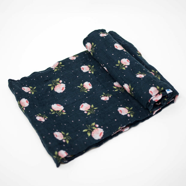 Little Unicorn Cotton Muslin Swaddle - Midnight Rose