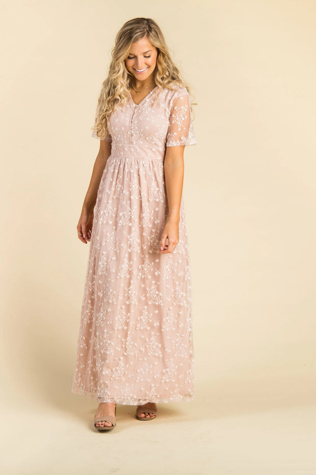 Adeline Lace Maxi Dress - B&R WOMEN'S DRESS brass & roe L Dusty Pink