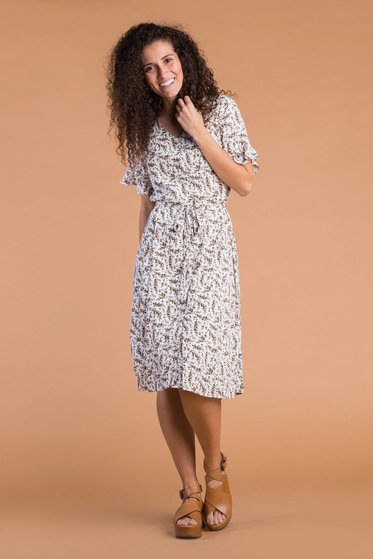 Laila Buttons & Print Dress Variable Called to Surf XS Ivory