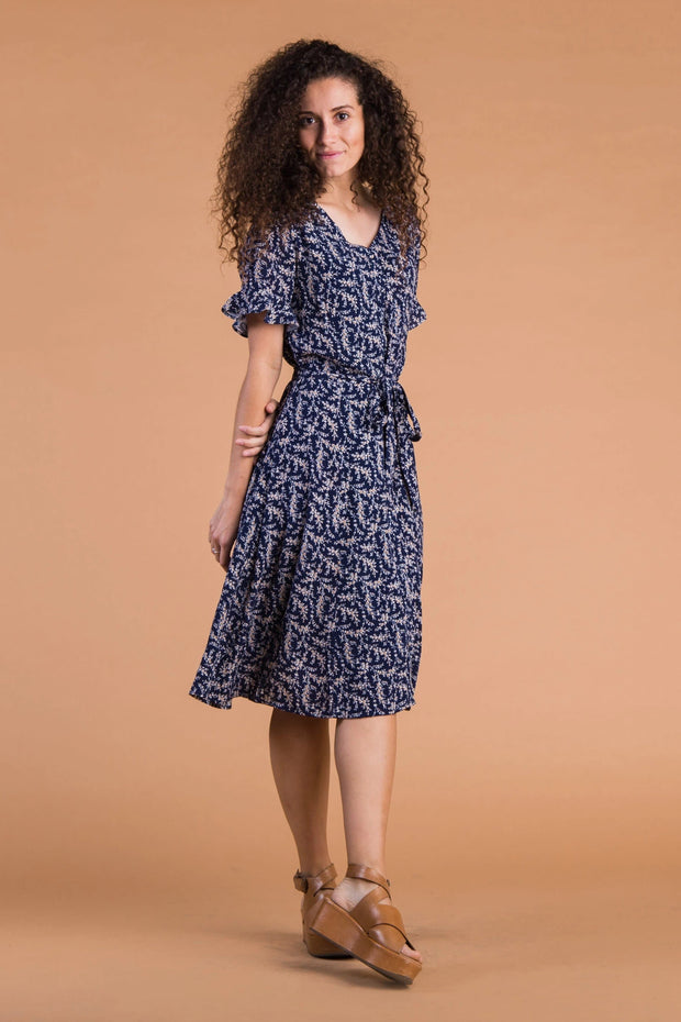 Laila Buttons & Print Dress Variable Called to Surf XS Navy