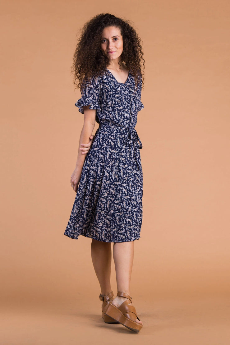 Laila Buttons & Print Dress WOMEN'S DRESS Called to Surf L Navy