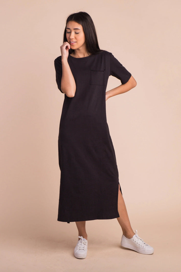 Kira Midi Length Tee Dress Variable Called to Surf XS Black