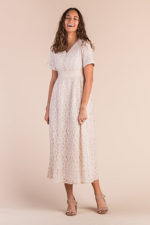 Carissa Lace Maxi - S&B WOMEN'S DRESS Called to Surf XS Ivory